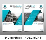 Blue annual report brochure flyer design template vector, Leaflet cover presentation abstract flat background, layout in A4 size | Shutterstock vector #401255245