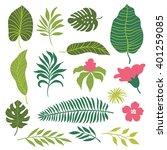set of tropical leaves    | Shutterstock .eps vector #401259085