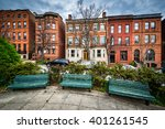 benches at park avenue median... | Shutterstock . vector #401261545