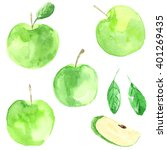 set apples. watercolor food.... | Shutterstock . vector #401269435