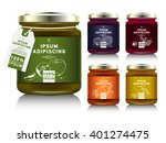 glass jar with with jam ... | Shutterstock .eps vector #401274475