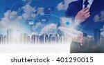 double exposure of businessman... | Shutterstock . vector #401290015