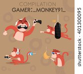funny and cute compilation of... | Shutterstock .eps vector #401300095