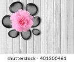 Black Spa Stones And Pink Rose...