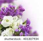 White Roses With Purple Flower...