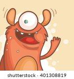 cartoon cheerful monster waving ...   Shutterstock .eps vector #401308819