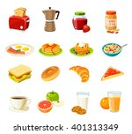 set of cartoon food  breakfast. ... | Shutterstock .eps vector #401313349