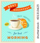best breakfast   vintage... | Shutterstock .eps vector #401313625