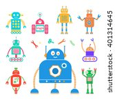 vector set of retro robots.... | Shutterstock .eps vector #401314645