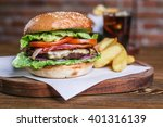 fresh burger closeup. sesame... | Shutterstock . vector #401316139