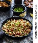 vegetable fried rice served... | Shutterstock . vector #401324311