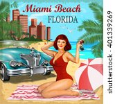 miami beach  florida retro... | Shutterstock .eps vector #401339269