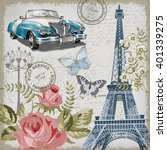 paris vintage postcard. | Shutterstock .eps vector #401339275