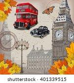 london vintage poster.   Shutterstock .eps vector #401339515