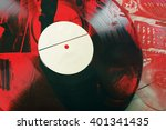 vinyl  turntable and dj. flat... | Shutterstock . vector #401341435