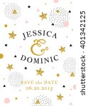 wedding invitation card. save... | Shutterstock .eps vector #401342125