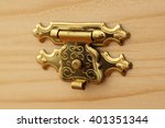 wood box with gold lock focused ... | Shutterstock . vector #401351344
