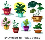 Potted Plants. Vector Cartoon...