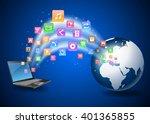 futuristic laptop and earth... | Shutterstock . vector #401365855