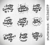 collection of hand written... | Shutterstock .eps vector #401366059
