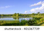 the calm waters of a pond... | Shutterstock . vector #401367739