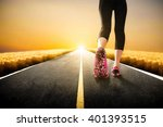 close up of runner feet running ... | Shutterstock . vector #401393515