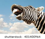 zebra striped happy laughting... | Shutterstock . vector #401400964