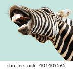 zebra striped happy laughting... | Shutterstock . vector #401409565