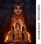 pharaoh s tomb statues.... | Shutterstock . vector #401415601