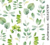 seamless herbal pattern with... | Shutterstock . vector #401419789