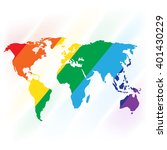 world map painted with rainbow... | Shutterstock .eps vector #401430229