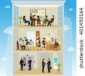 coordinated work in friendly... | Shutterstock .eps vector #401450164