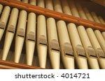 large church organ pipes - stock photo