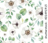 seamless floral pattern with... | Shutterstock . vector #401491915