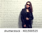 fashion model in sunglasses ... | Shutterstock . vector #401500525
