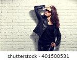 fashion model in sunglasses ... | Shutterstock . vector #401500531