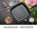 cast iron griddle pan with food ...   Shutterstock . vector #401510635