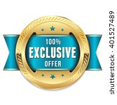 gold exclusive offer rosette ... | Shutterstock .eps vector #401527489