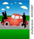 couple rest beside car | Shutterstock .eps vector #40153087