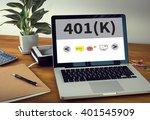 401 k  laptop on table. warm...   Shutterstock . vector #401545909