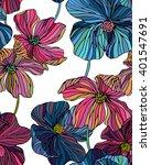 vector flowers pattern  line... | Shutterstock .eps vector #401547691