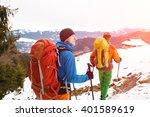 two male hikers in winter...   Shutterstock . vector #401589619