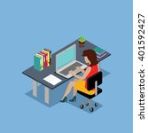 isometric woman office work... | Shutterstock . vector #401592427