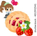 big strawberry pie  and a...   Shutterstock .eps vector #401592541
