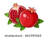 couple juicy ripe pomegranate... | Shutterstock .eps vector #401595565