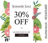 summer sale banner  sale poster ... | Shutterstock .eps vector #401601685