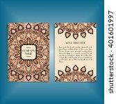 flyer with round orange mandala ... | Shutterstock .eps vector #401601997