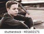 lonely teenager sitting on roof ... | Shutterstock . vector #401602171
