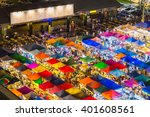 Aerial View Of Flea Market Wit...