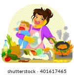 stressed young woman doing many ... | Shutterstock . vector #401617465
